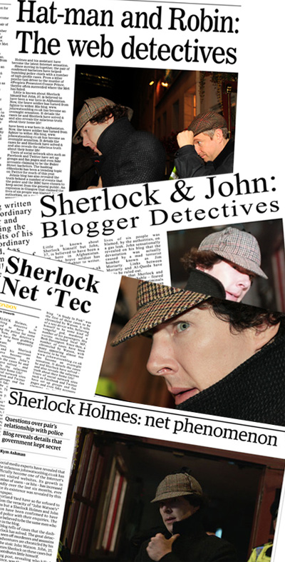 Pictures of newspapers covering the story of how Sherlock and Dr John Watson became a net phenomenon